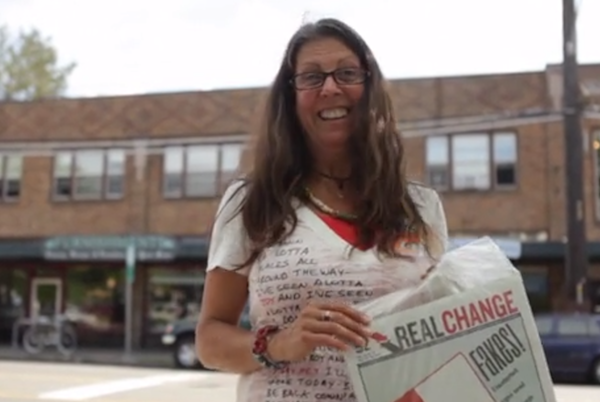 "Susan Russell is a Real Change vendor and member of the Homeless Speakers Bureau. Image credit: Still capture from <a title=""A Storytelling Project: Susan Russell on Vimeo"" href=""http://vimeo.com/92685423"">video by Anissa Amalia</a>."