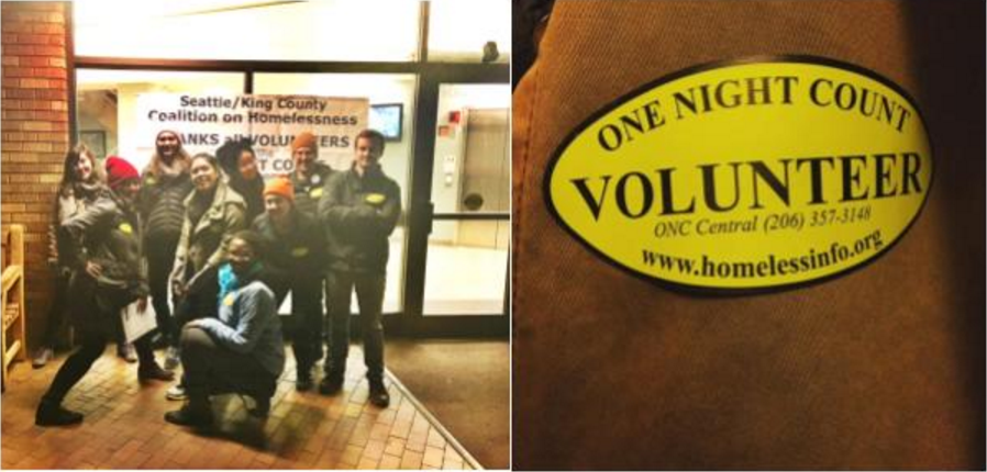 Social work student Tara Lee Lange (far left) joined a team of volunteers at the 2016 King County One Night Count. Image courtesy Tara Lee Lange.